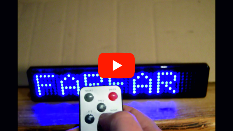 Lille LED navneskilt med remote